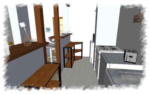 Etude déco - Cuisine appartement d'étudiant proposition 3D