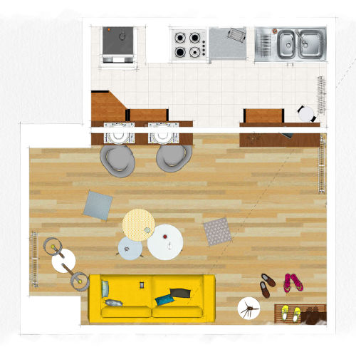 Etude déco - Vue de dessus pièce à vivre appartement d'étudiant