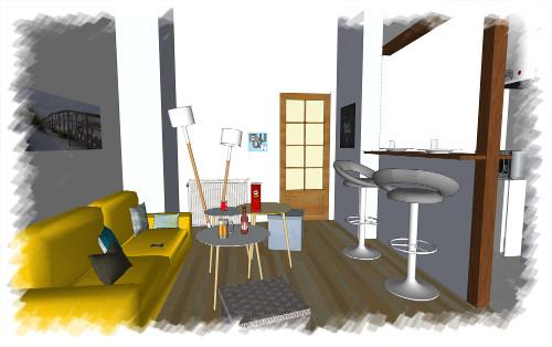 Etude déco - Pièce à vivre appartement d'étudiant proposition 3D